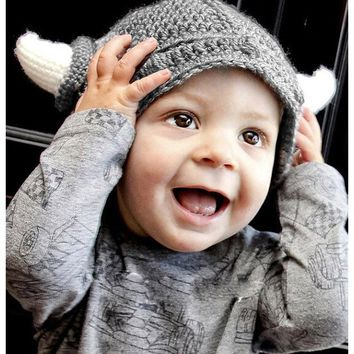 Funny Handmade Baby Kids Bonnet Crochet Winter Hat Cartoon Children Toddler Viking Horns Knitted Useful