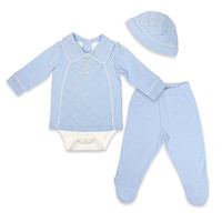 Harry & Violet 3-Piece Quilted Bodysuit, Pant, and Hat Set in Blue