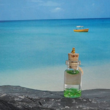 Modern Handmade May Birthstone Emerald Light Green Sea Glass in Miniature Bottle