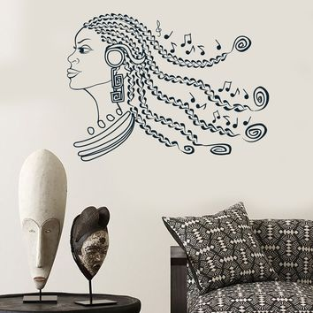 Vinyl Wall Decal Beautiful Afro Woman Hairstyle  Black Music Decor Stickers Unique Gift (ig3035)
