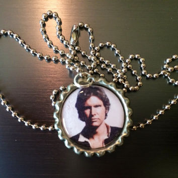 Han Solo Star Wars Harrison Ford face bottlecap necklace