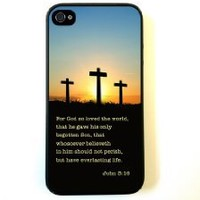 iPhone 4 Case Silicone Case Protective iPhone 4/4s Case Bible Quote John 3 16