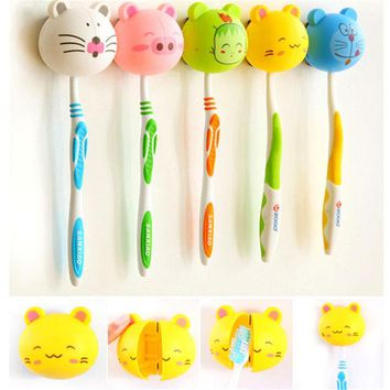 VONC1Y 1PC 3D Lovely Cartoon Toothbrush Holder Stand Mount Wall Suction Grip Rack Home Bathroom Products for Kids Pattern At Random