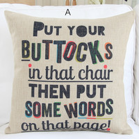 Sweet Quote Decorative Pillow Case 044A