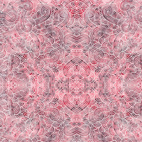 Red and white swirls doodles Fabric Fabric
