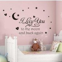 Newsee Decals I love you to moon Wall quote decal sticker kids nursery Room Art Decor (Black) (BLACK, 1)
