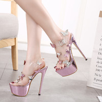 Women's Summer Shoes Sandals Platform 2017 European 16Cm Heels Butterfly Gladiator Women Sandals High Heels Wedding Shoes Purple
