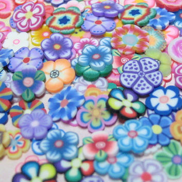100 random flower slices Polymer clay cane decoden pieces nail art supplies miniature