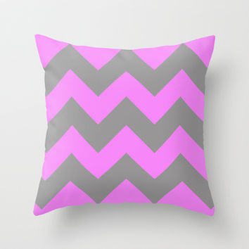 Chevron Pink Throw Pillow by Alice Gosling