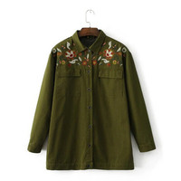 Boyfriend Style Army Green Flower Embroidery Shirt  Woman Lapel Long sleeve Pockets Blouse Tops Coat blusas femme blusa