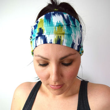 Workout Headband, Jersey Yoga Headwrap, Ikat Women's Fabric Head wrap, Gym Hair Accessories
