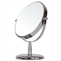 "Adeco Round Double Sided Makeup Cosmetic Mirror, 3X Magnification, 6"", Swivel Head, Decorative Chrome-Coated Stand"