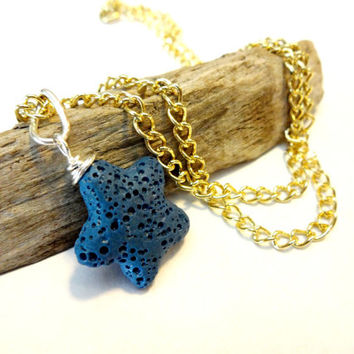 Essential Oil Jewelry, Celestial Star Pendant Necklace, Gold Tone Layering Necklace, Lava Stone Personal Diffuser Necklace