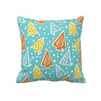 Modern, funky, stylized Christmas trees pattern Throw Pillow