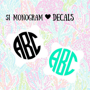 ONE DOLLAR Monogram Decal 1 Dollar Per Inch - Scrap Sale - One Dollar Per Inch - No Limit - Glitter - Any Color - Custom Decal  Yeti Decal