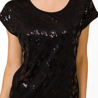 Sequined Leopard Pattern Top