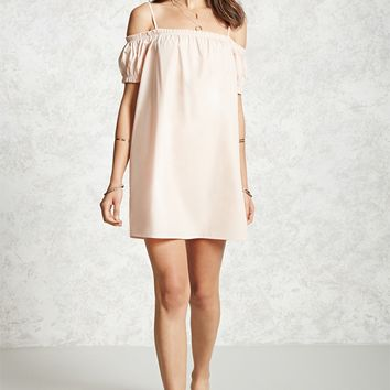 Poplin Open-Shoulder Dress