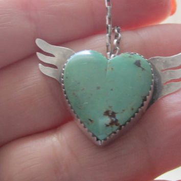 Vintage Hopi Native American Turquoise Winged Flying Heart Pendant Beaded Necklace Sterling Silver