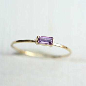 Amethyst Ring, 14k Baguette Ring, 14k Gold Ring, Stack Ring, 10th Anniversary Gift, Birthstone Ring, Purple Ring, Minimalist Ring, Promise