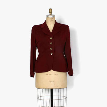 Vintage 40s Gab BLAZER / 1940s Burgundy Wool Gabardine Tailored & Fitted JACKET L