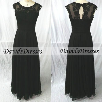 Black Lace Prom Dress 2016 With Key Hole Back, Custom Handmade Cap Sleeves Prom Dresses