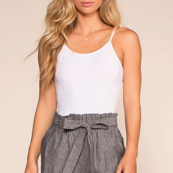 Picnic Fiesta High Waisted Stripe Shorts - Black