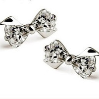 Fashion Women Silver Bow Crystal Earrings 925 Sterling Silver Jewelry Zircon Stud Earrings = 1668692868