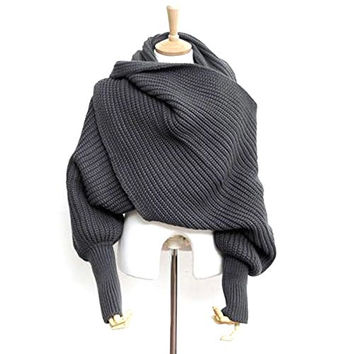 Fashion Korean Style Autumn Winter Unisex Knitted Scarf Cape Shawl with Sleeves
