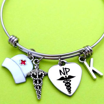 Personalized, Letter, Initial, NP, Bangle, Bracelet, Nurse, Practitioner, Student, Gift, Nursing, 2016, Grade, Graduation, Gift, Jewelry