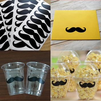 Vinyl Mustache Removable Wall Stickers Birthday Baby Shower Decorations Cup Decals Wedding Envelope Sticker Seals