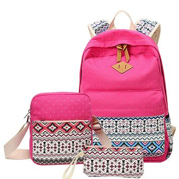 Polka Dot Printing Women Backpack Cute Lightweight Canvas Bookbags Middle High School Bags for Teenage Girls