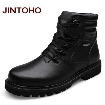Men Leather Boots Winter Warm Men Motorcycle Boots Real Leather Men Ankle Boots