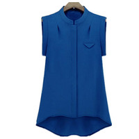 Blue Sleeveless Round Neck Chiffon Blouse
