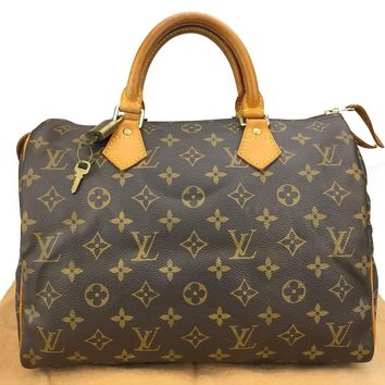 Authentic LOUIS VUITTON Speedy 30 Monogram Canvas Leather Hand Bag M41526