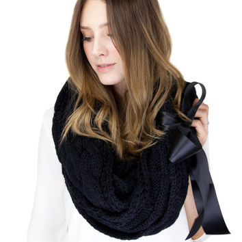 CHUNKY DARK GRAY knit infinity scarf with large satin bow cuff, gray cable knit, dark gray knit, grey knit