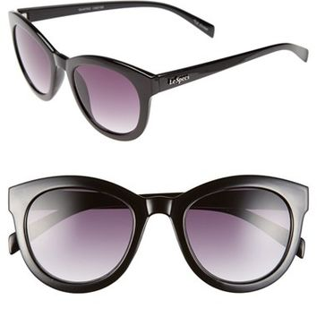 Women's Le Specs 'Quatro' 50mm Cat Eye Sunglasses - Black