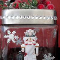 Christmas Nutcracker Gift Candy Jar Centerpiece.Nutcracker Apothecary Jar.Hostess Gift.Christmas Birthday.White Elephant Gift.Home Décor.