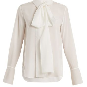 Tie-neck silk-crepe shirt | Chloé | MATCHESFASHION.COM UK