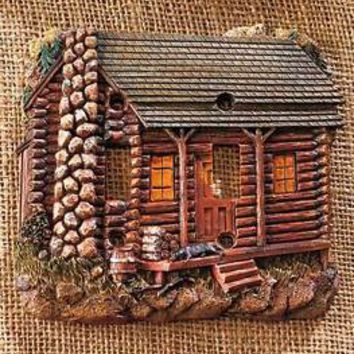 Decorative Rustic Log Cabin Double Light Switch Wall Plate Lodge Home Decor