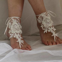 barefoot sandals,wedding shoes, summer shoes,Beaded ivory  lace, wedding sandals,prom dress accessories, foot jewelry,  N-15A