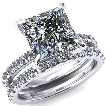 Daneli Princess/Square Moissanite 4 Claw Prong Micro Pave Diamond Sides Engagement Ring