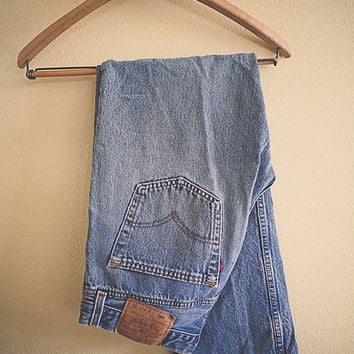Levi's 501 Vintage Acid Washed Worn in Denim Jeans Button Fly Distressed 31 x 30 Boyfriend Jeans 80's