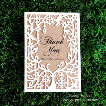 50 Personalized Wedding Thank You - Laser Cut Blank Card - Unique Custom Wedding Stationery Cards