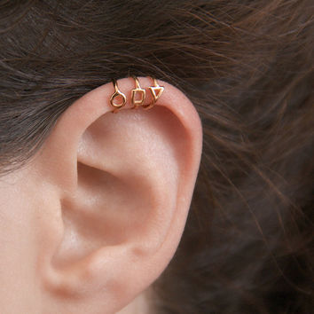Tiny Rose Gold Earrings, Gold Ear Cuffs, Set of Three Earring Cuffs With No Piercing, Minimalist Jewelry,