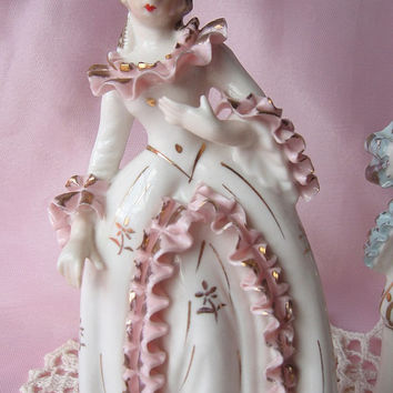 Vintage Rococo Victorian Bone China Figurines/ Home Decor/ Shabby Chic/ French Decor