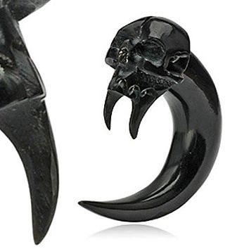 Angel of Death Skull Hand Carved Organic Horn WildKlass Taper