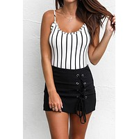 All Intertwined Black Lace Up Skort