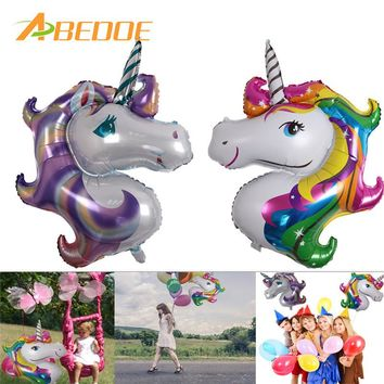 ABEDOE 118 * 90cm Rainbow Unicorn Party Supplies Foil Balloons Kids Cartoon Animal Horse Float Globe Birthday Party Decoration