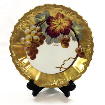 Limoges Hand Painted Plate, Fall Colors & Heavy Gilding, Grapes Leaves Stems, Blakeman Henderson, Signed J. Golse, 1900-1909, Antique Plate