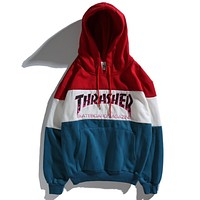 Thrasher New Trending Women Men Stylish Flame Letter Embroidery Color Matching Sport Hooded Sweater Cotton Velvet Pullover Top Sweatshirt Red/Blue I13158-1